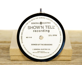 """Vintage """"Songs of the Season"""" by General Electric / Record Christmas Ornament / Holiday Decor Music Gift / Holiday, Choral"""