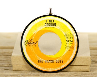 """Vintage Beach Boys """"I Get Around"""" Record Christmas Ornament from 1964 / Music Gift / Vintage Ornament / Rock, Surf"""