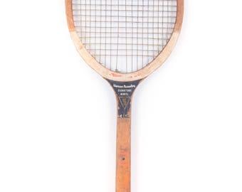 Vintage Wooden Tennis Racquet / Wright & Ditson Mercer Beasley Tennis Racket / Antique Wood Tennis Racket Antique Tennis Racket Sports Decor
