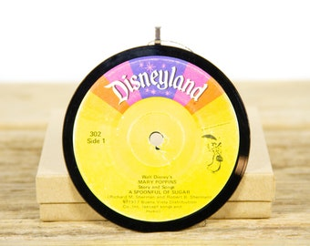 """Vintage Walt Disney Mary Poppins """"A Spoonful of Sugar"""" Record Christmas Ornament from 1977 / Disneyland Holiday Gift / Children's"""