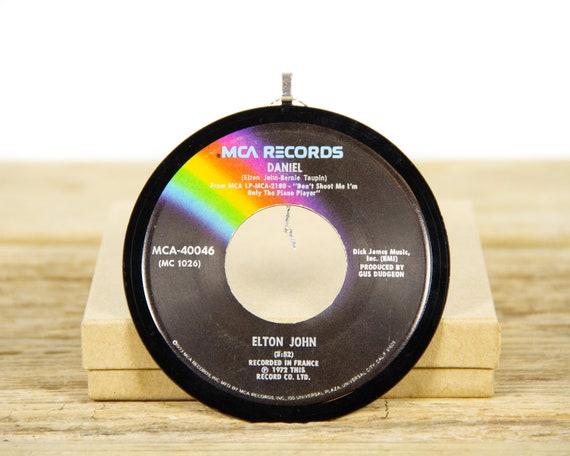 "Vintage Elton John ""Daniel"" Record Christmas Ornament from 1972 / Music Gift / Vintage Ornament / Rock, Pop"