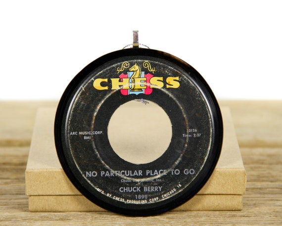 """Vintage Chuck Berry """"No Particular Place To Go"""" Vinyl Record Christmas Ornament from 1964 / Vintage Holiday Decor / Music Gift / Rock & Roll"""