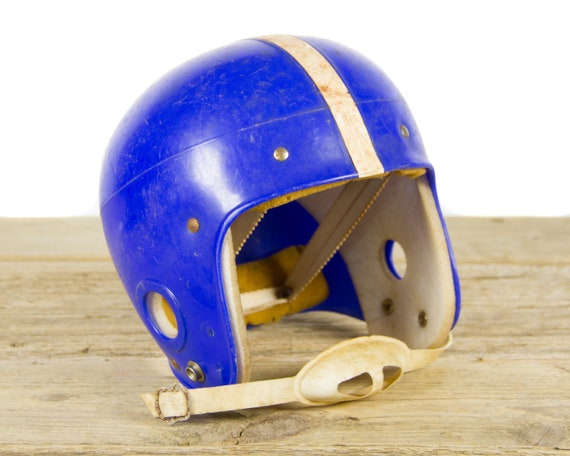 Vintage Football Helmet / Blue and White Helmet / Kids Youth Helmet / Football Decor / Game Room / Antique Football Helmet / Football Gift