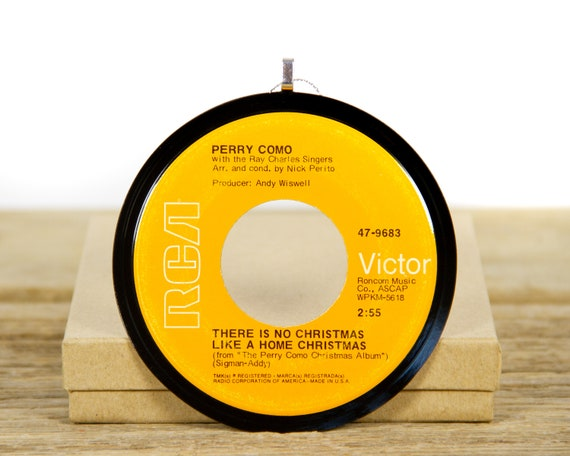"""Vintage """"There Is No Christmas Like A Home Christmas"""" by Perry Como from 1968 / Record Christmas Ornament / Jazz, Holiday, Pop"""