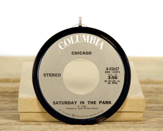 """Vintage Chicago """"Saturday In The Park"""" Record Christmas Ornament from 1972 / Holiday Decor / Music Gift / Rock, Pop"""