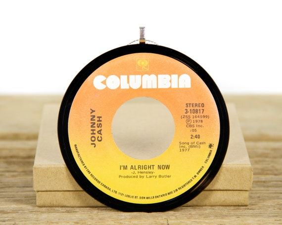 """Vintage Johnny Cash """"I'm Alright Now"""" Record Christmas Ornament from 1977 / Holiday Decor / Music Gift / Country, Folk"""