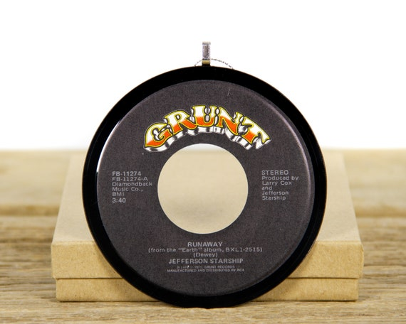 """Vintage Jefferson Starship """"Runaway"""" Record Christmas Ornament from 1971 / Holiday Decor / Music Gift / Rock & Roll, Pop"""