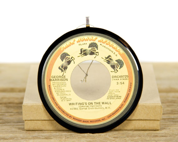 """Vintage George Harrison """"Writing's On The Wall"""" Record Christmas Ornament from 1981 / Vintage Holiday Decor / Music Gift / Pop, Rock"""