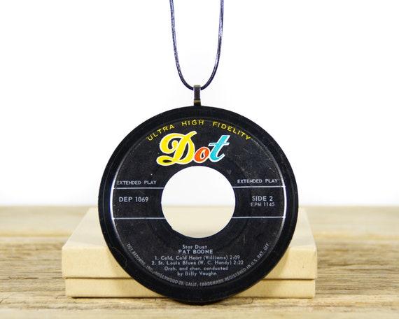 Vintage Handmade Pat Boone Necklace 1958 / 45 Vinyl Record Necklace / Unique Necklace for Women / Gift for Women / Vinyl Record Gift