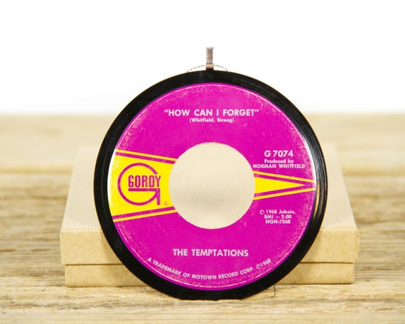 """Vintage The Temptations """"How Can I Forget"""" Record Christmas Ornament from 1968 / Holiday Decor / Music Gift Present / Funk, Soul"""