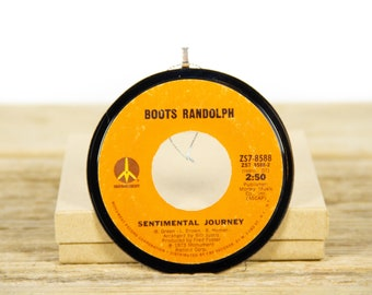 """Vintage Boots Randolph """"Sentimental Journey"""" Record Christmas Ornament from 1973 / Music Gift / Jazz, Pop"""