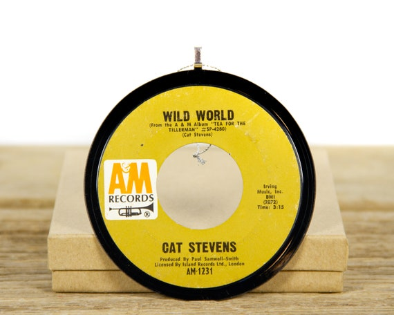 """Vintage Cat Stevens """"Wild World"""" Record Christmas Ornament from 1970 / Vintage Holiday Decor / Rock, Pop"""