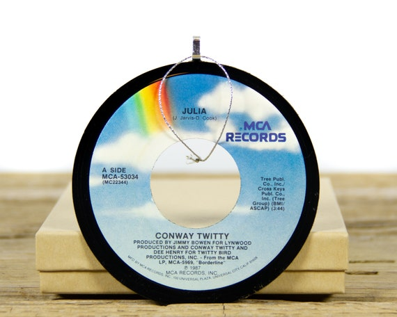 Vintage Conway Twitty Vinyl Record Christmas Ornament from 1987 / Vintage Holiday Music / Jukebox 45 Vinyl Record Gift / Country Folk