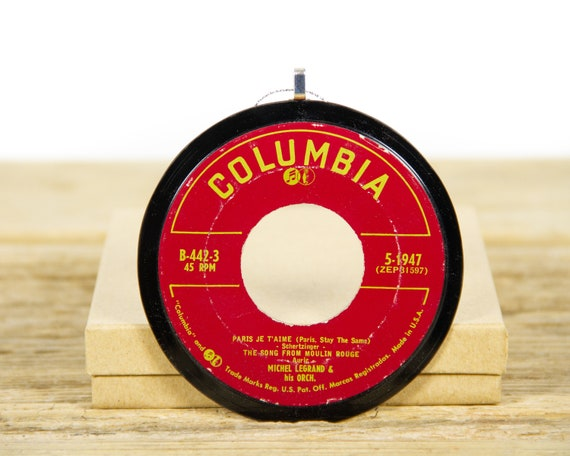 """Vintage Moulin Rouge """"Paris Je T'Aime"""" Record Christmas Ornament from 1961 / Holiday Decor / Music Gift / Stage & Screen"""