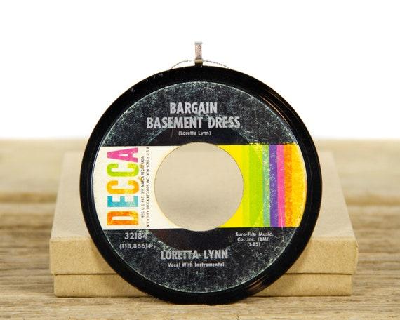 "Vintage Loretta Lynn ""Bargain Basement Dress"" Record Christmas Ornament from 1967 / Music Gift / Folk, Country"