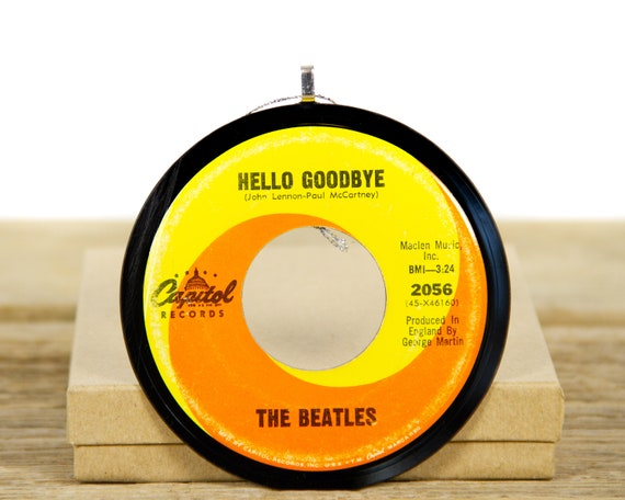 """Vintage The Beatles """"Hello Goodbye"""" Record Christmas Ornament from 1967 / Holiday Decor / Music Gift / Rock, Pop"""