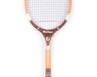 Vintage Wooden Tennis Racquet / Brown MacGregor Flightmaster Tennis Racket / Antique Wood Tennis Racket Antique Tennis Racket Sports Decor
