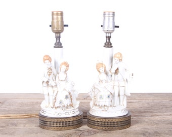 Vintage Victorian Lamps / Antique Desk Lamps / Hand Painted Victorian Lamp / Antique Lamps / Table Lamp / Office Lamp / Victorian Decor