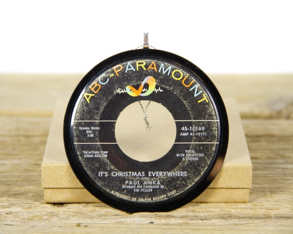 """Vintage Paul Anka """"It's Christmas Everywhere"""" Vinyl Record Christmas Ornament from 1960 / Vintage Holiday Decor / Record Gift / Pop, Holiday"""