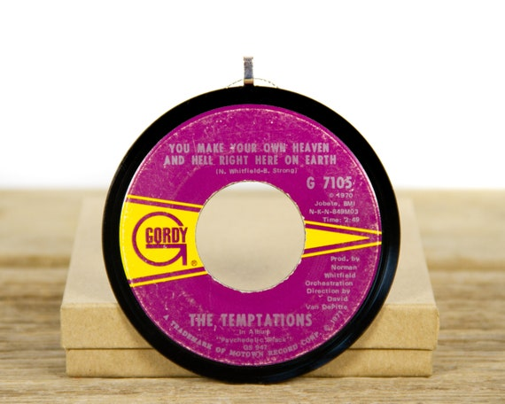 """Vintage The Temptations """"Make Your Own Heaven And Hell Right Here on Earth"""" Record Christmas Ornament from 1970 / Holiday Decor / Funk, Soul"""