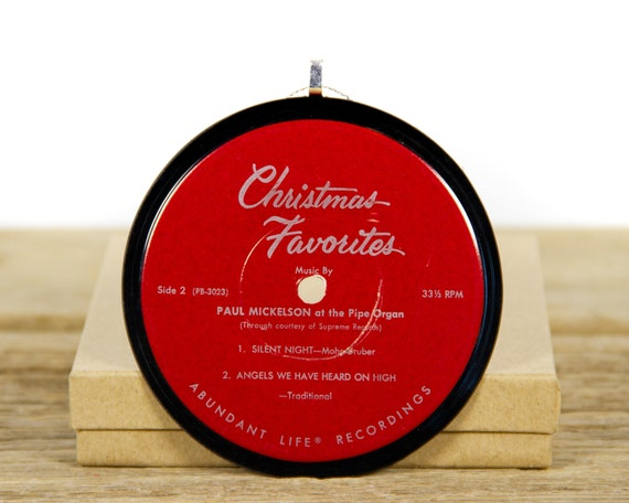 """Vintage """"Silent Night"""" Paul Mickelson – Christmas Favorites / Record Christmas Ornament / Holiday Decor Music Gift / Holiday, Choral"""