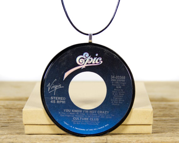 Vintage Handmade Culture Club Vinyl Record Necklace from 1982 / Synth-Pop Rock and Roll Music / Women's Necklace Gift / Men's Necklace
