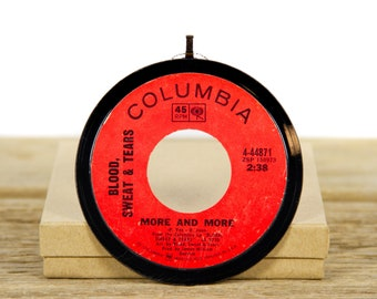 """Vintage Blood, Sweat, & Tears """"More And More"""" Record Christmas Ornament from 1969 / Vintage Holiday Decor / Classic Rock, Rock"""