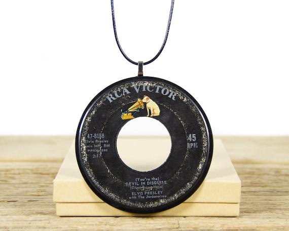 Vintage Handmade Elvis Presley Vinyl Record Necklace 1963 / 45 Vinyl Record Necklace for Women / Unique Vinyl Record Gift for Women & Men