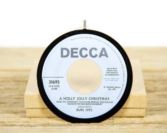 """Vintage Burl Ives """"A Holly Jolly Christmas"""" from 1964 / Record Christmas Ornament / Holiday Decor Music Gift / Holiday, Country"""