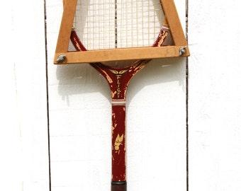 Wooden Tennis Racket / Wilson Flight Tennis Racket / Antique Wilson Tennis Racket / Red Wooden Racquet / Wood Tennis Racket / Old Racquet