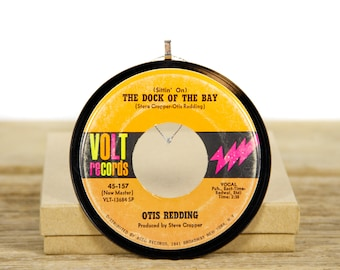 """Vintage Otis Redding """"The Dock Of The Bay"""" Record Christmas Ornament from 1968 / Vintage Holiday Decor / Funk, Soul, Blues"""