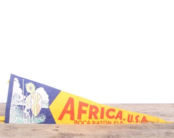 1950s Boca Raton Florida Africa Pennant / Vintage Felt Pennant / Yellow Pennant Banner / Pennant Flag / Antique Pennant / Wall Pennant Decor