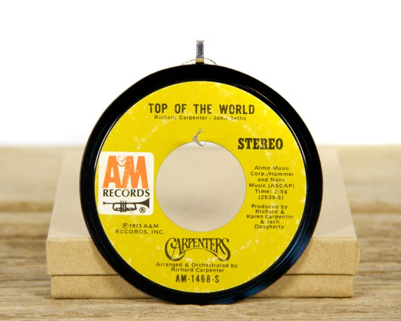 """Vintage Carpenters """"Top Of The World"""" Record Christmas Ornament from 1973 / Vintage Ornament / Soft Rock, Pop Rock"""