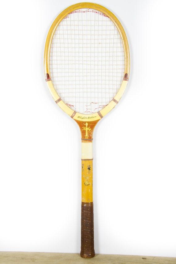 Vintage Wooden Tennis Racket / Wood Tennis Racquet  / Wright & Ditson Trophy Tennis Racket / Antique Tennis Racket / Sports Decor
