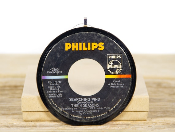 """Vintage The Four Seasons """"Searching Wind"""" Vinyl Record Christmas Ornament from 1964 / Holiday Decor / Pop, Rock, Pop Rock"""