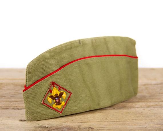 Vintage Boy Scouts of America BSA Sanforized Garrison Hat / Size Medium 6 3/4 - 6 7/8 Cap / Green Garrison Hat
