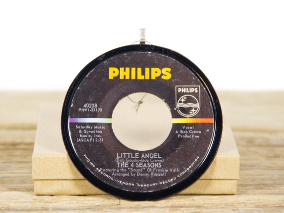 """Vintage The Four Seasons """"Little Angel"""" Vinyl Record Christmas Ornament from 1964 / Holiday Decor / Pop, Rock, Pop Rock"""