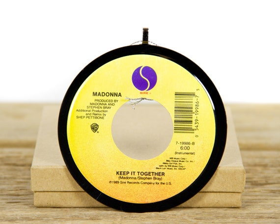 """Vintage Madonna """"Keep It Together"""" Record Christmas Ornament from 1989 / Vintage Holiday Decor / Rock, Pop"""