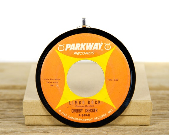 """Vintage Chubby Checker """"Limbo Rock"""" Record Christmas Ornament from 1962 / Vintage Holiday Decor / Rock, Pop"""