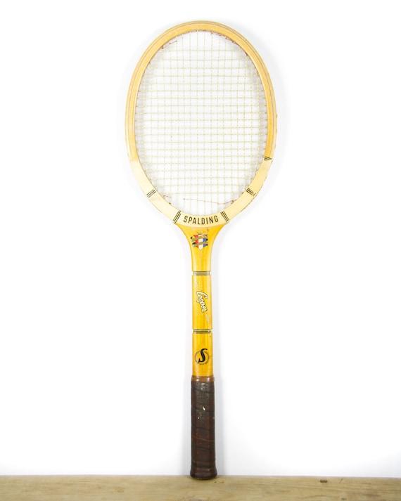 Vintage Spalding Ashley Cooper Model Wooden Tennis Racquet / Antique Wood Tennis Racket / Sports Decor