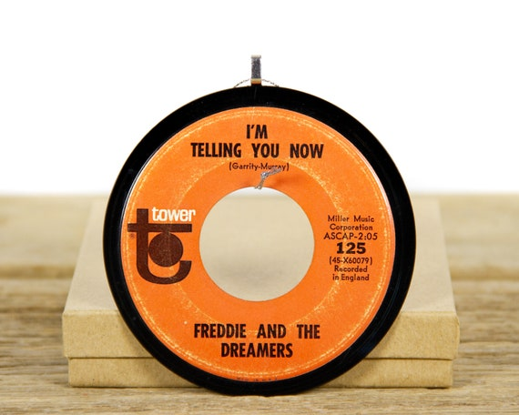 """Vintage Freddie And The Dreamers """"I'm Telling You Now"""" Record Christmas Ornament from 1965 / Vintage Holiday Decor / Rock, Pop"""