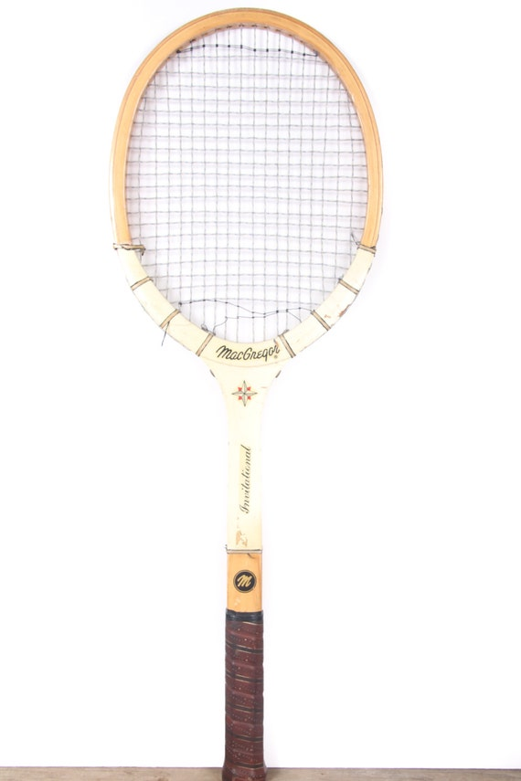 Vintage Wooden Tennis Racket / White MacGregor International Tennis Racket / Antique Wood Tennis Racket / Antique Tennis Racket Sports Decor