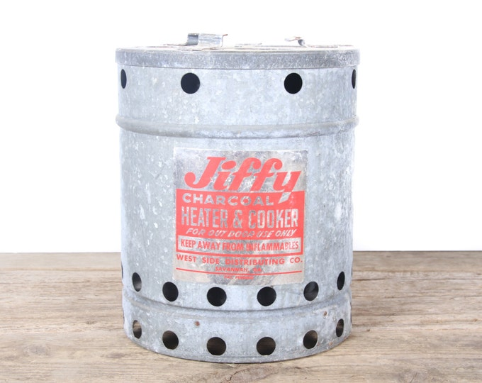 Featured listing image: Antique Jiffy Charcoal Heater & Cooker / Metal Cooker / Antique Cookware / Vintage Camping Cooking / Old Fishing Decor / Outdoor Decor /
