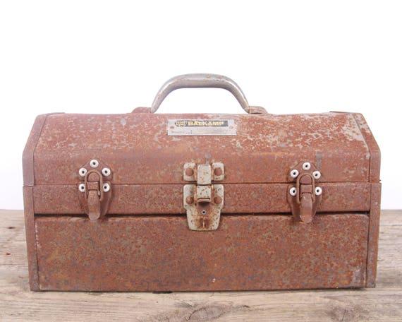 Vintage Rusted Napa Balkamp Metal Toolbox / Industrial Box / Metal Storage Box / Antique Metal Tool Box / Rusted Display Prop Unique Storage