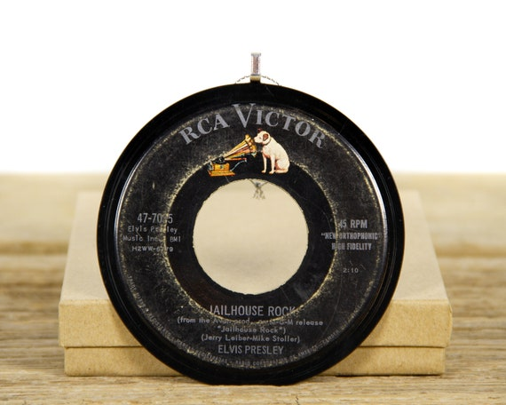 """Vintage Elvis Presley """"Jailhouse Rock"""" Record Christmas Ornament from 1957 / Vintage Elvis Collectible / Rock & Roll"""