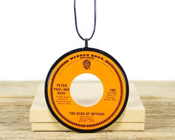 Vintage Handmade Peter Paul Mary Vinyl Record Necklace 1967 / 45 Vinyl Record Necklace for Women / Unique Vinyl Record Gift for Women & Men