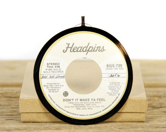 """Vintage Headpins """"Don't It Make Ya Feel"""" Record Christmas Ornament from 1982 / Vintage Holiday Decor / Classic Rock, Hard Rock"""