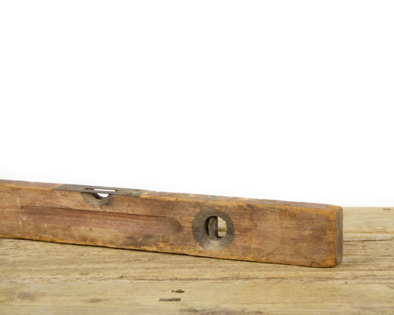 """Antique 24"""" Wooden Level / Stanley No 0 Level / Old Carpentry Tool / Rustic Woodworking / Industrial Antique Wood Tool"""