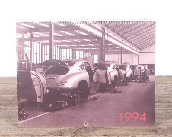 1994 Porsche Calendar / Porsche 356 Car / Porsche Collectible / Retro Porsche Poster / Porsche Decor / Man Cave Car Picture Garage Gift
