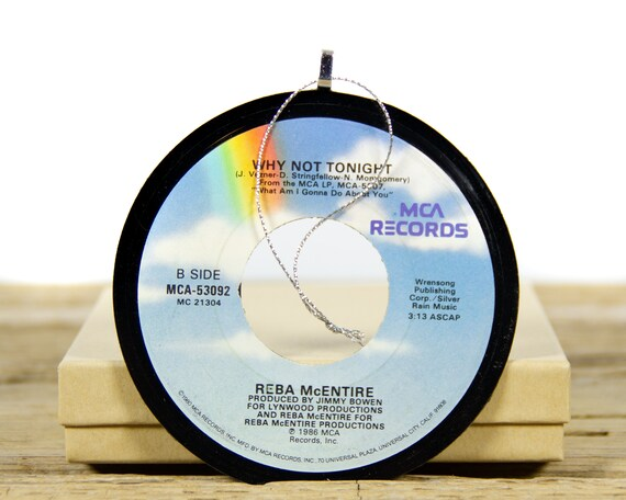 Vintage Reba McEntire Vinyl Record Christmas Ornament from 1986 / Vintage Holiday Music / Jukebox 45 Vinyl Record Gift / Country Folk